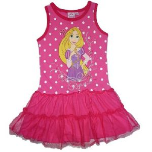 Disney Princess Rapunzel Summer Beach Dress Rose with Dark Pink Trim